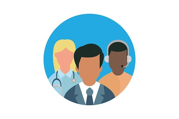 An icon of three people each in different professionals, there's one doctor, one person in a suit and one person with a headset on