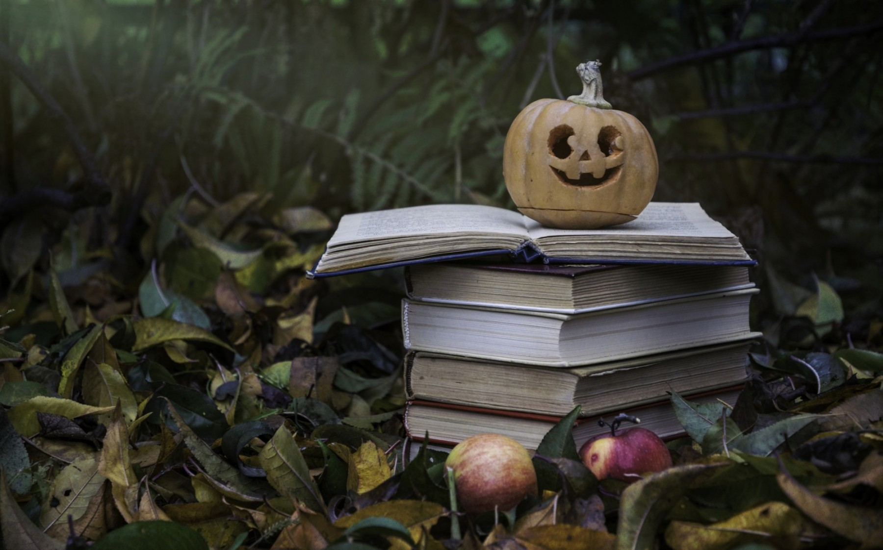 Spooky pumpkin on pile of books