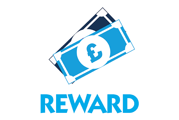 An icon of two notes of money stacked on top of one another with the word reward underneath