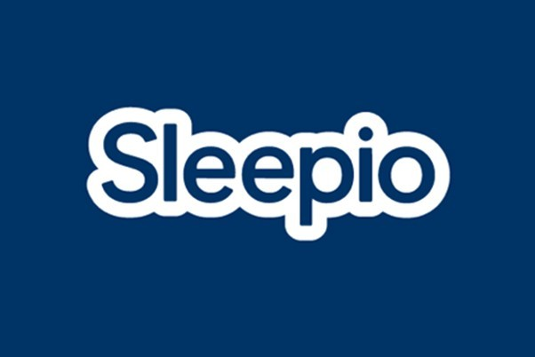 Sleepio written in navy blue with white surround and a navy blue background