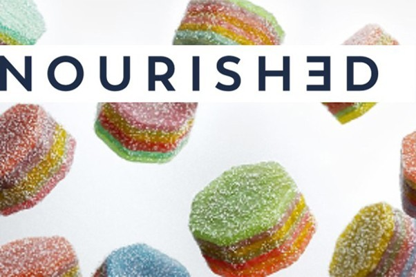 Sugar coated sweets with the word Nourished overlayed