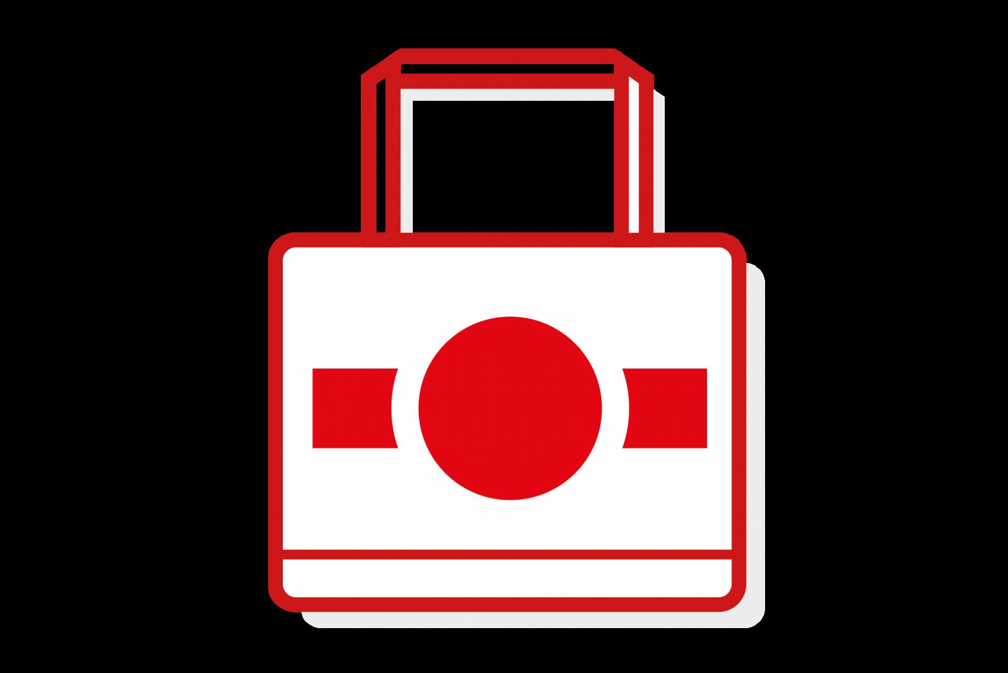 red illustrated takeaway bag