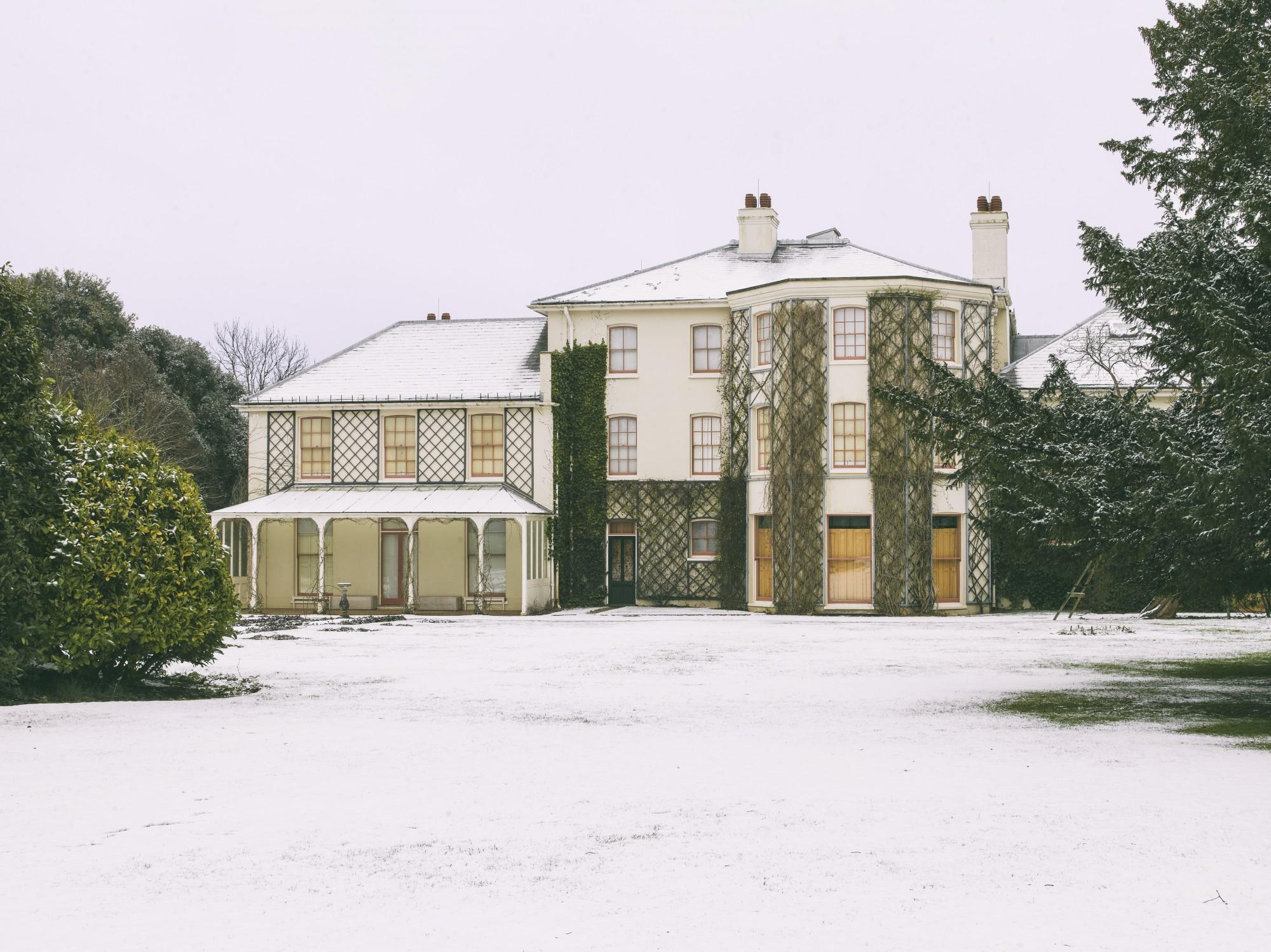 Snowy English Heritage house
