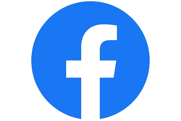 Facebook logo, blue circle with white lowercase f inside