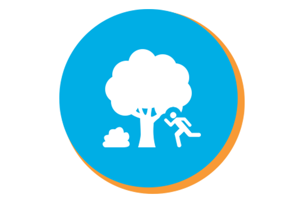 Illustrated tree with person running