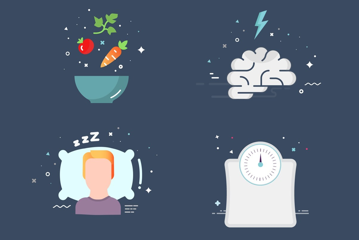nutrition, brain, sleep and scale icons