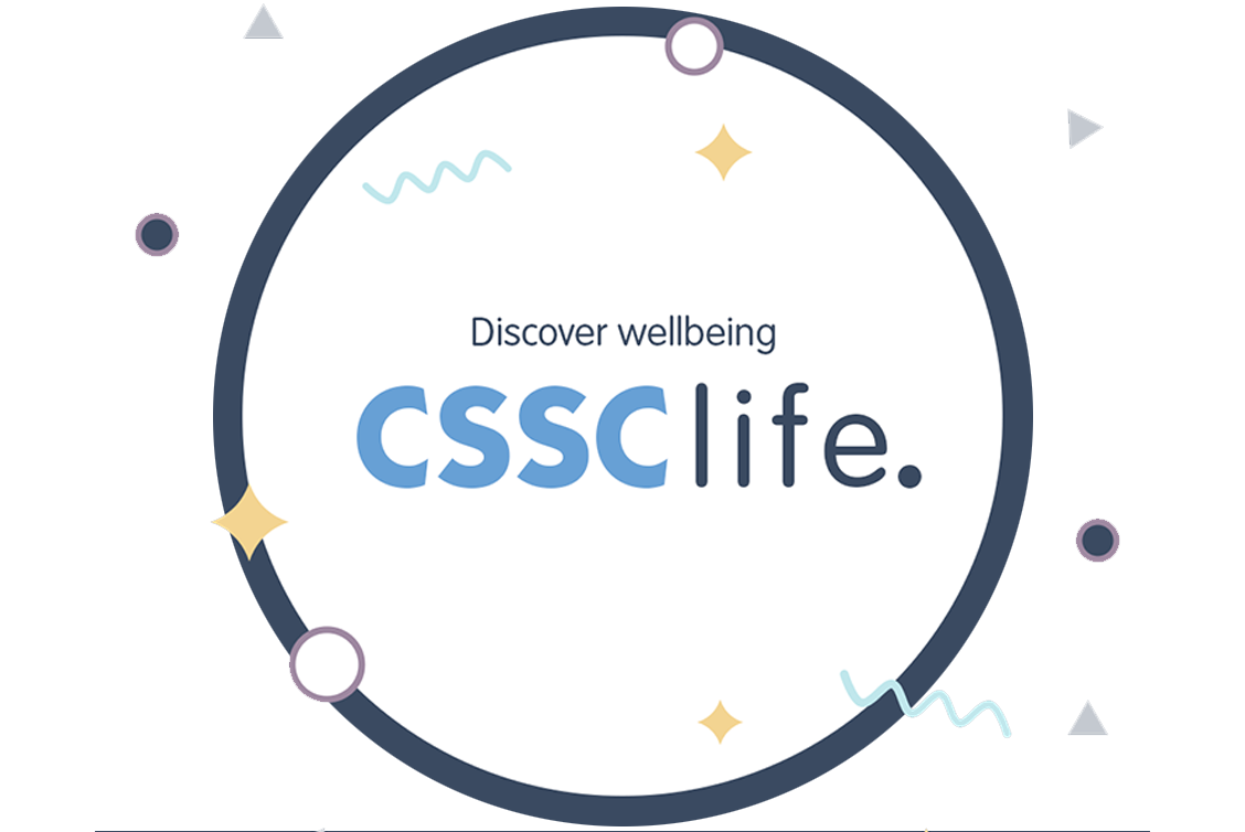 CSSC life is written in a white circle with a dark blue background around it