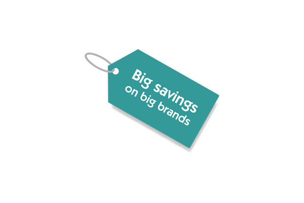 An icon of a price tag that says 'big savings on big brands'