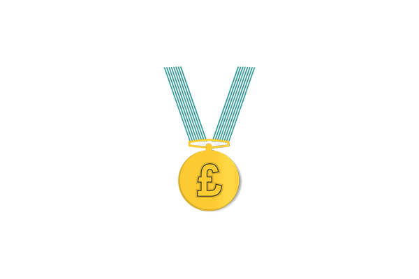 An icon of a golden medal on a teal ribbon with a pound sign inside the medal