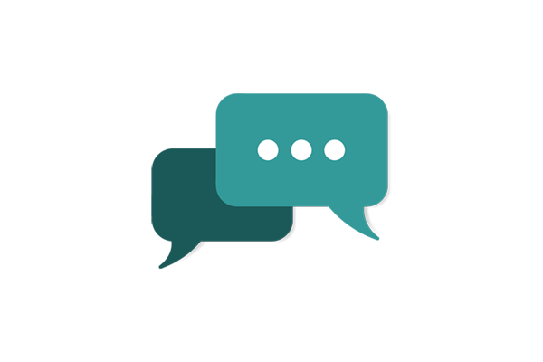 An icon of two teal coloured speech bubbles with an ellipses inside one