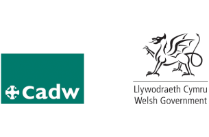 Cadw logo in white writing on a green background