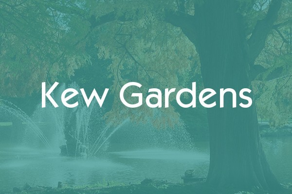 White text saying Kew Gardens overlayed on a landscape