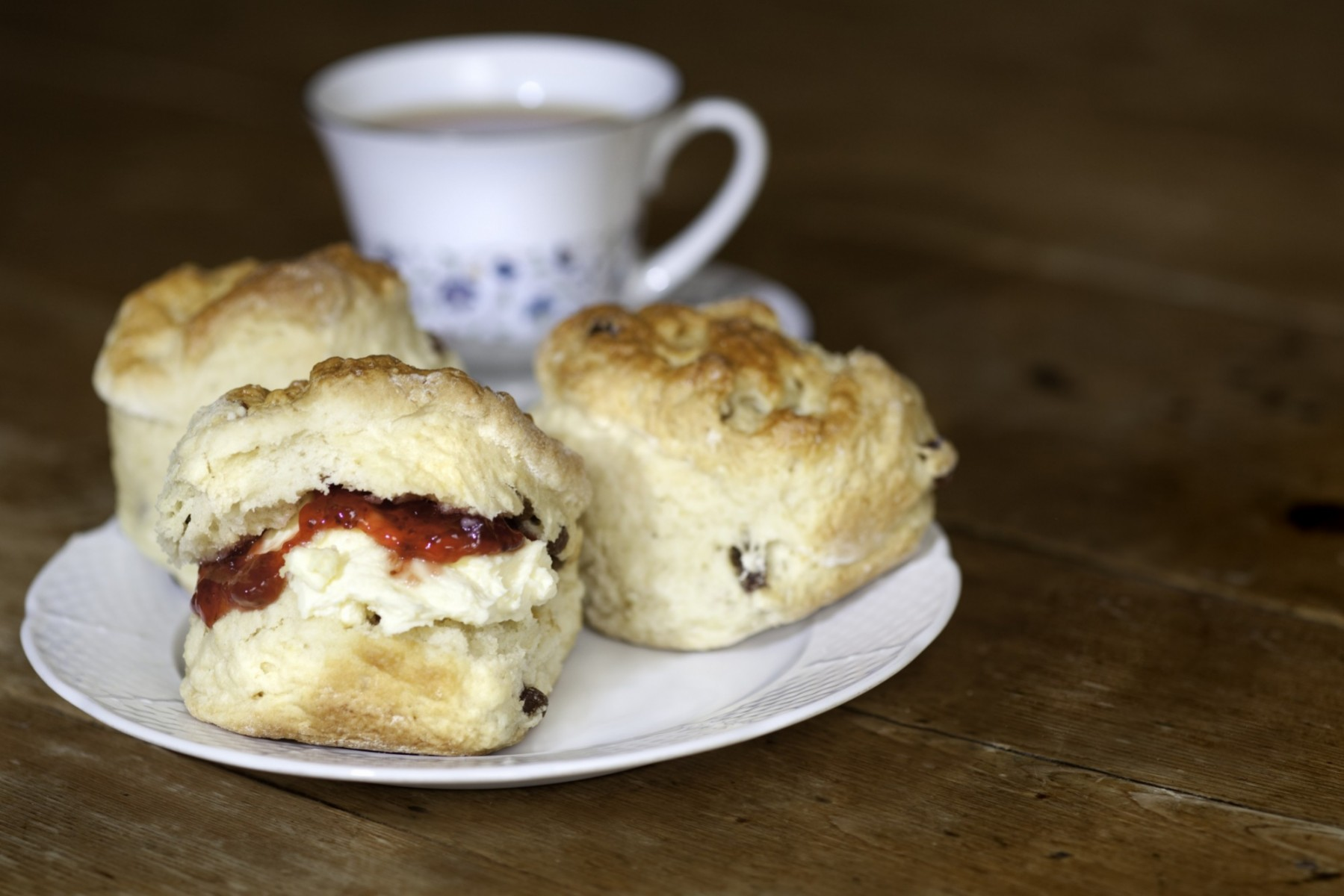 A plate of jam and cream scones from afternoon tea