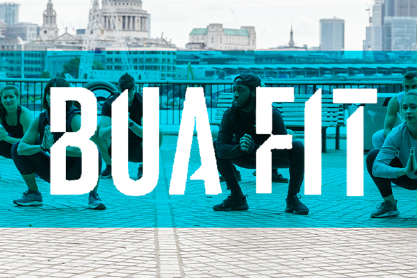 BUA FIT logo overlayed on people working out in London