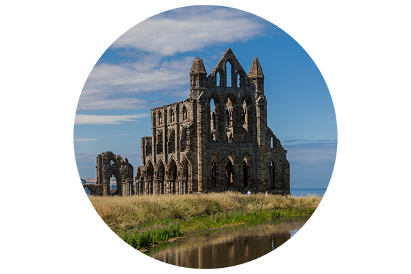 Whitby abbey in a circle
