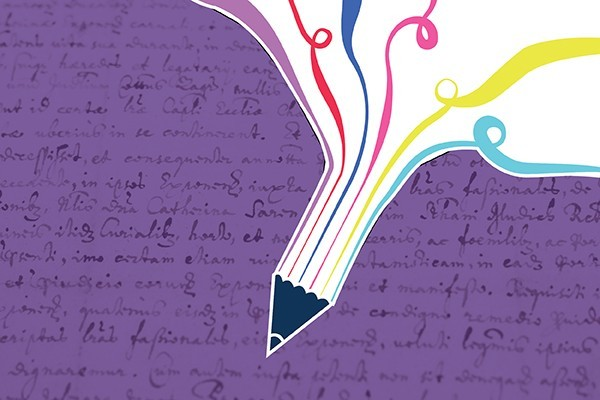 A colourful pen on a purple background