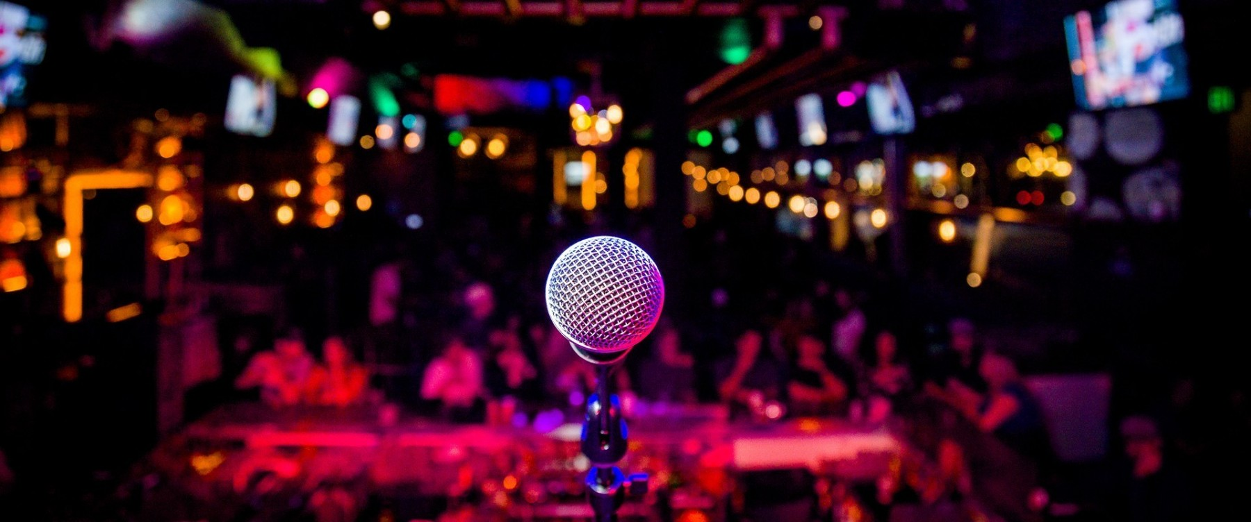 Microphone on a stage at a comedy club