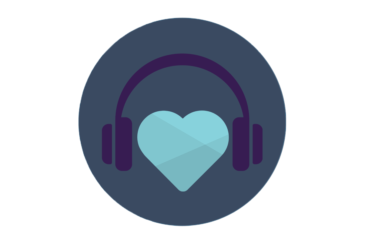 illustrated headphones with a blue heart