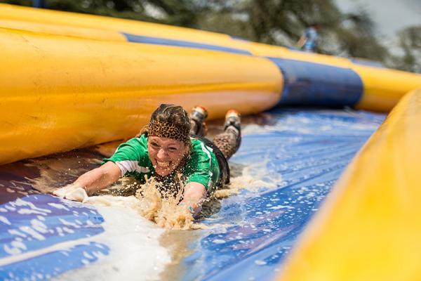 lady on slip and slide
