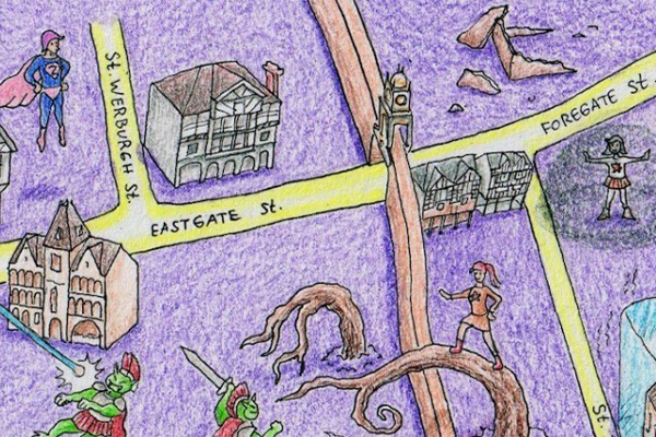 An illustrated treasure map, drawn by a child in crayon