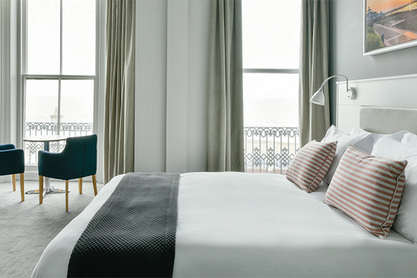 A chic seafront hotel room