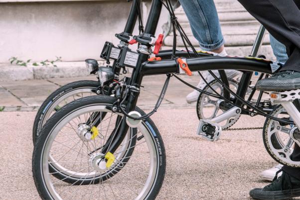 Close up of a brompton folding bike