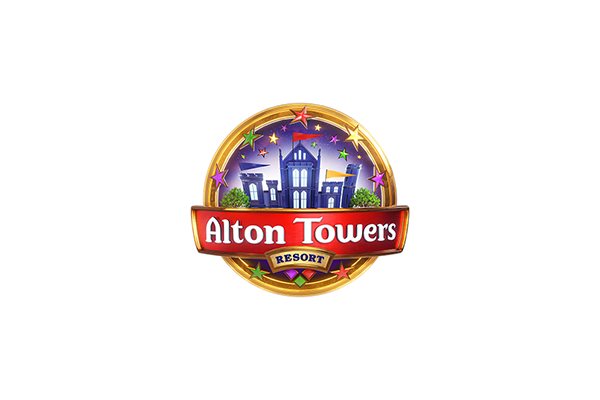 alton towers logo on a white circular background