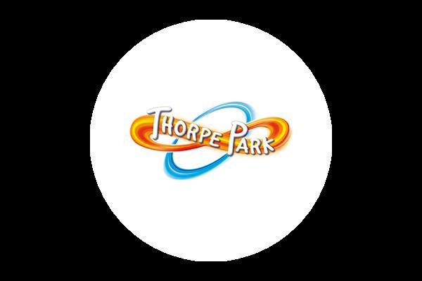 Thorpe Park logo on a white circular background