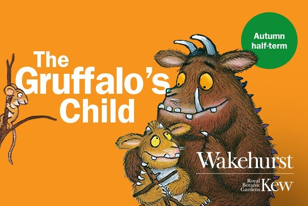 The gruffalo's child showing the gruffalo with their child on their lap with overlayed writing of the title and wakehurst and kew logos