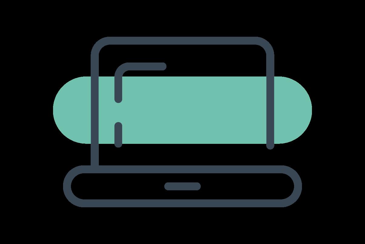 Line art illustration of a laptop