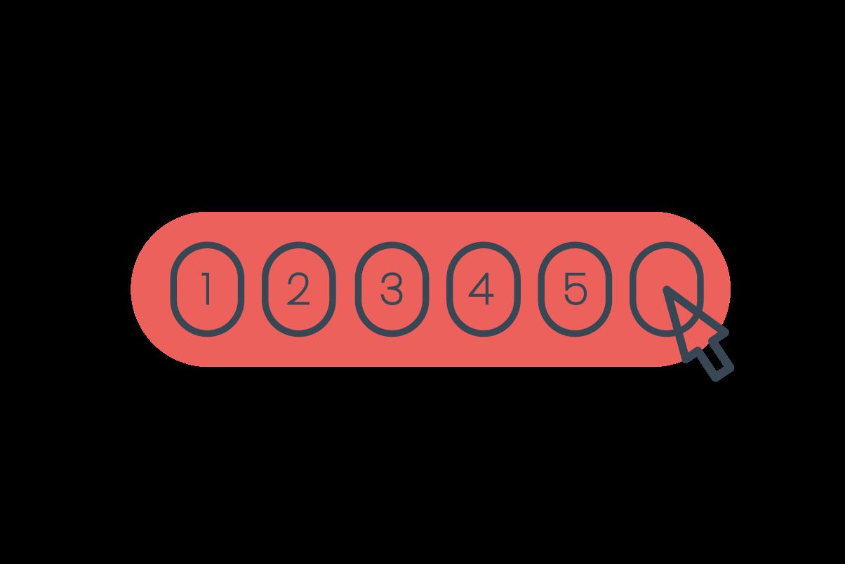 Red line art illustration of six lottery balls