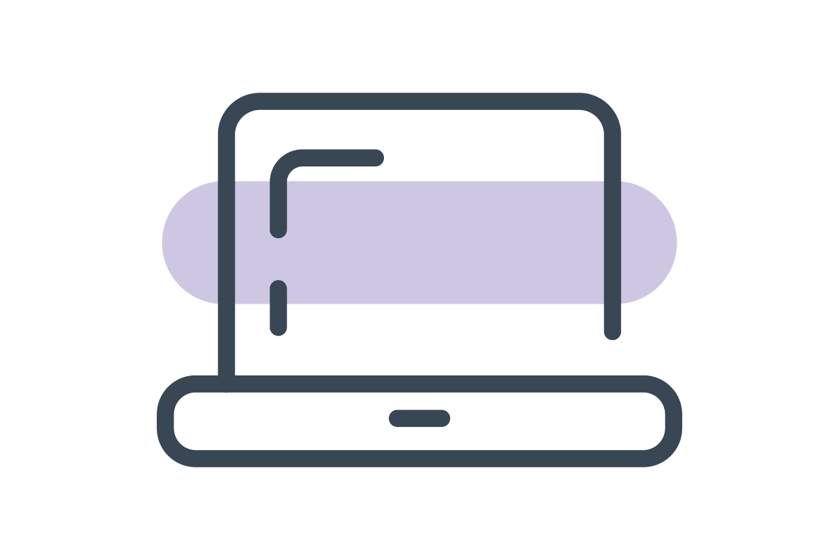 Illustrated laptop icon with a purple line through it