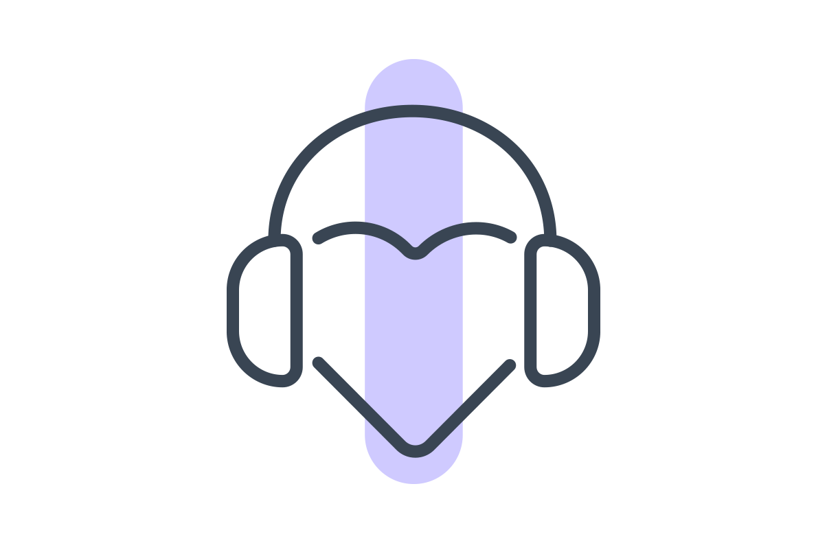 illustrated headphones with a purple line