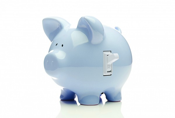 Blue piggy bank with a switch on the side