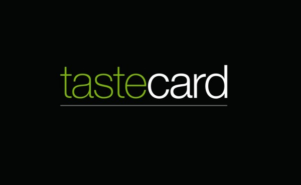 green and white tastecard logo on a black background