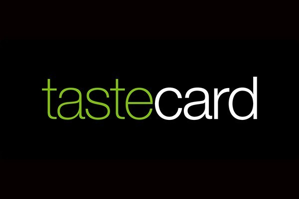 Tastecard logo in lime green and white on a black background