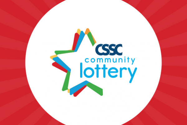 CSSC community lottery star logo in a white circle on a red background