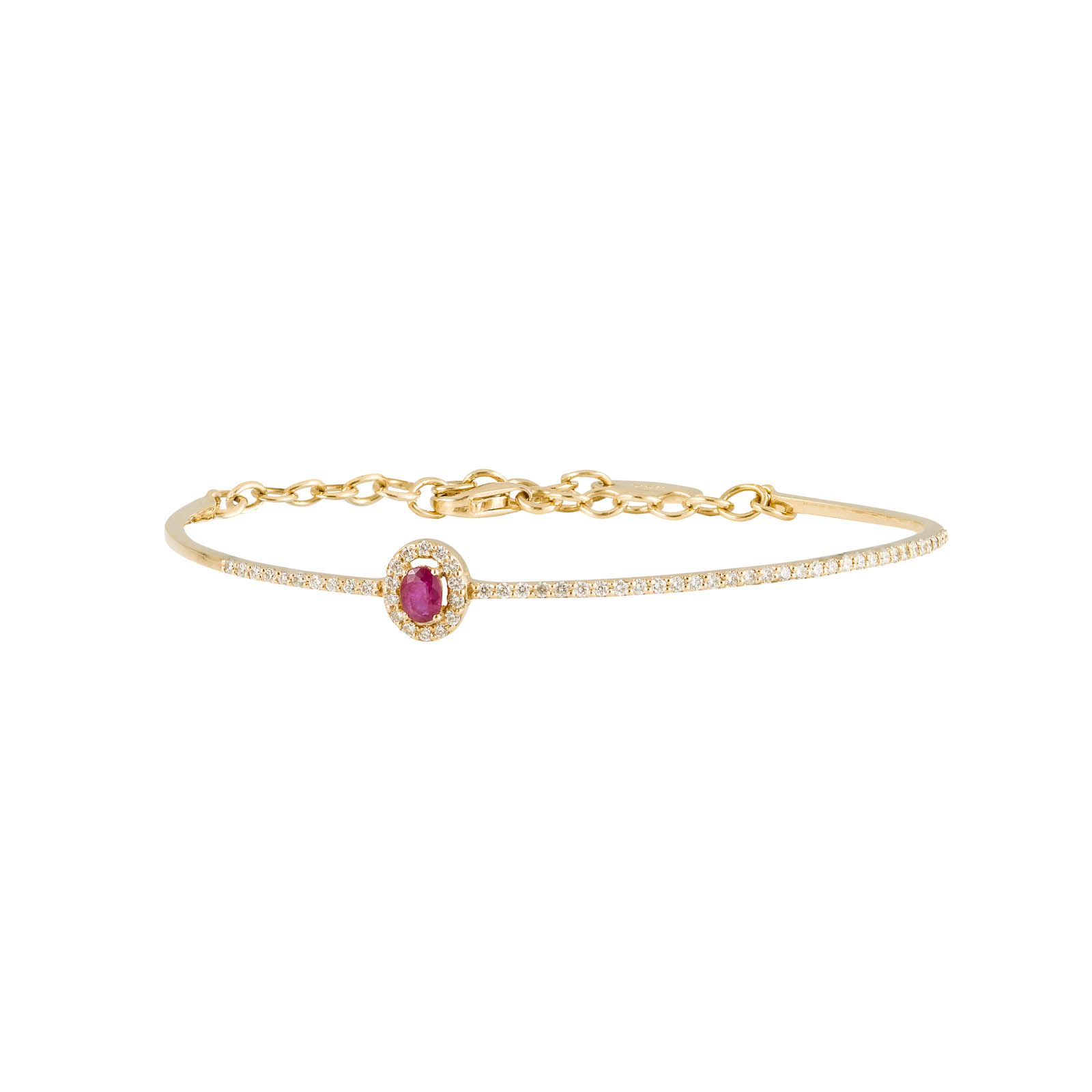 Ellipse Bangle – Ruby and Diamond Yellow Gold by DAOU JEWELLERY on curated-crowd.com