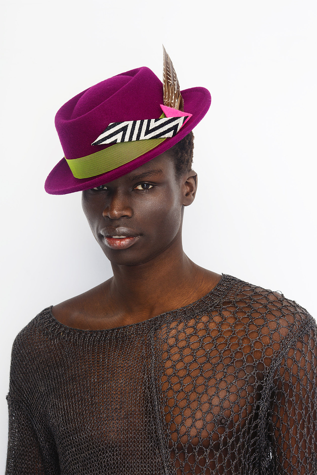 Hand-Decorated Felt Hat (short brim) by IVA KSENEVICH on curated-crowd.com