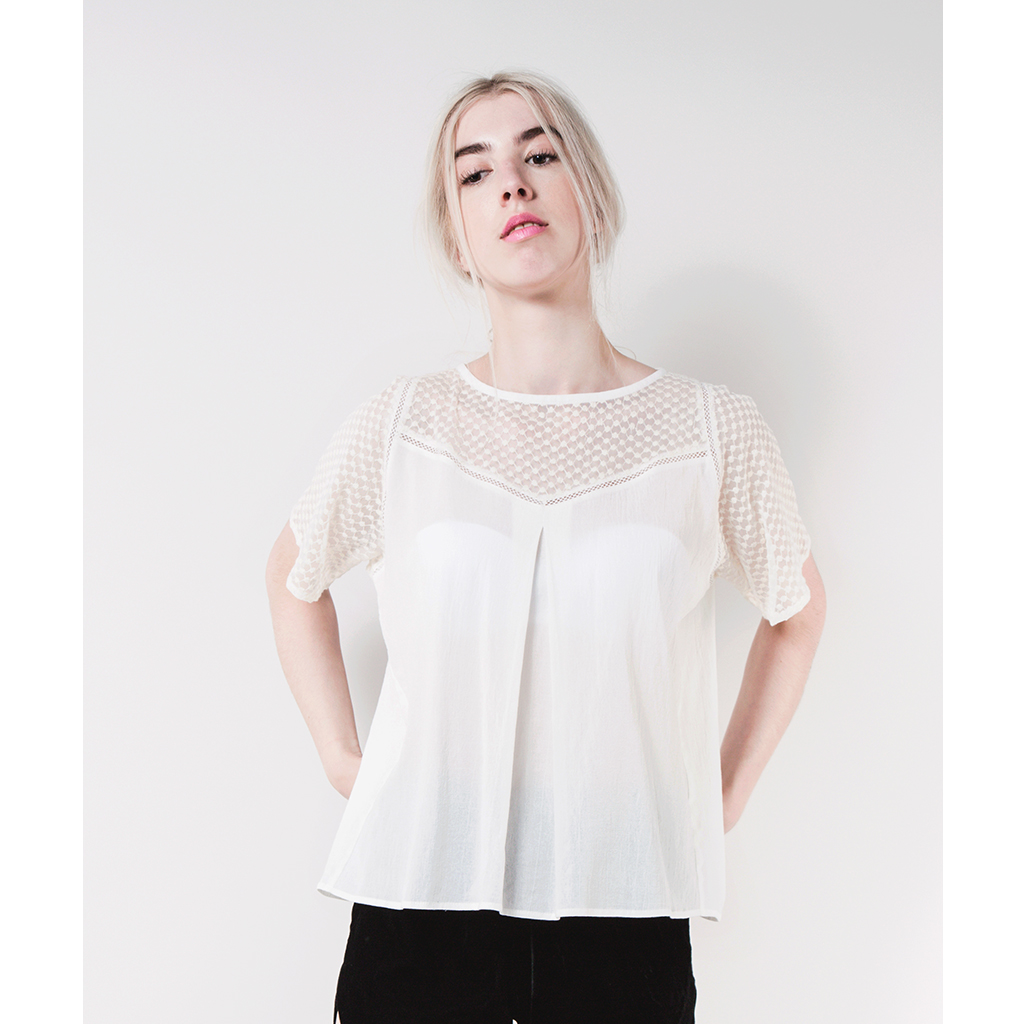 EMILY Cotton and Linen Lace Tee by  on curated-crowd.com