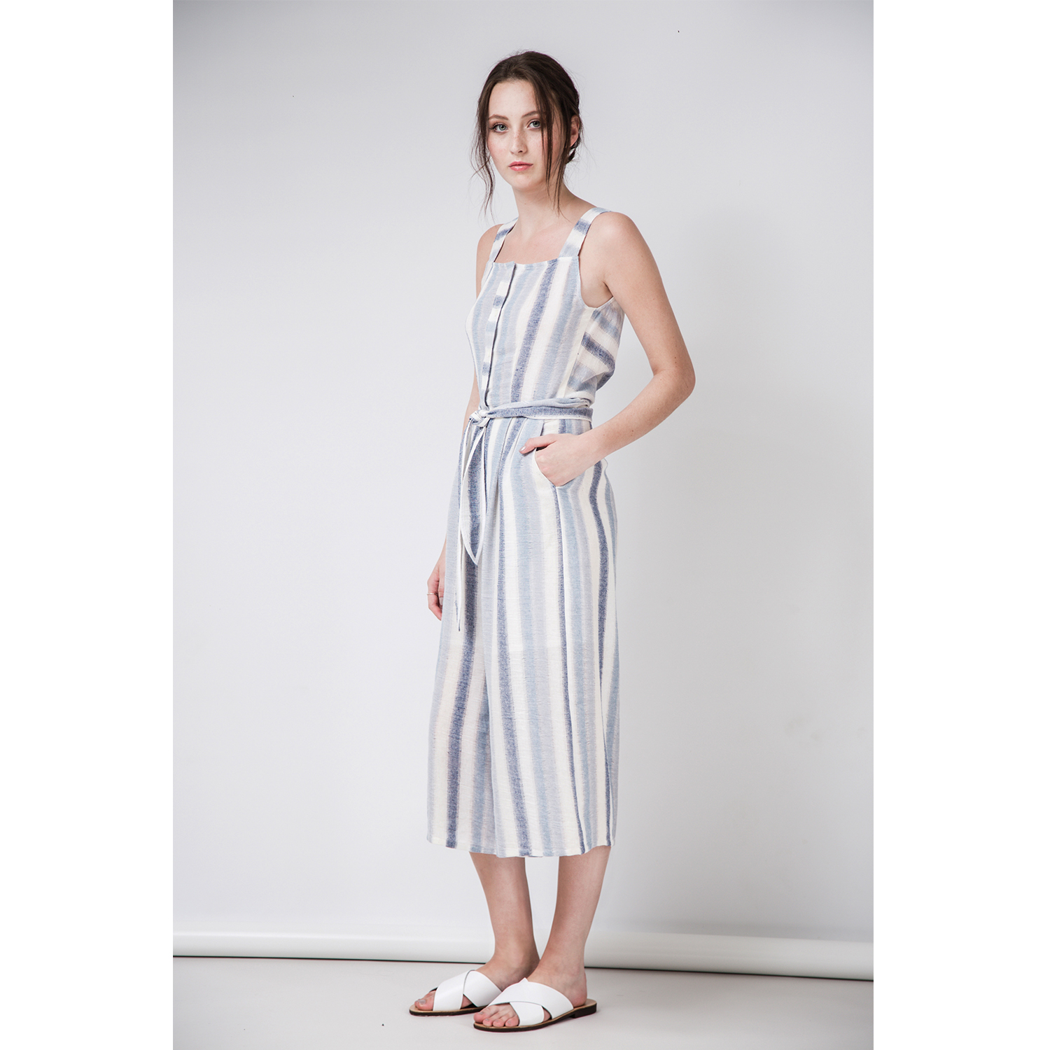 CARA Cotton Linen Jumpsuit by  on curated-crowd.com