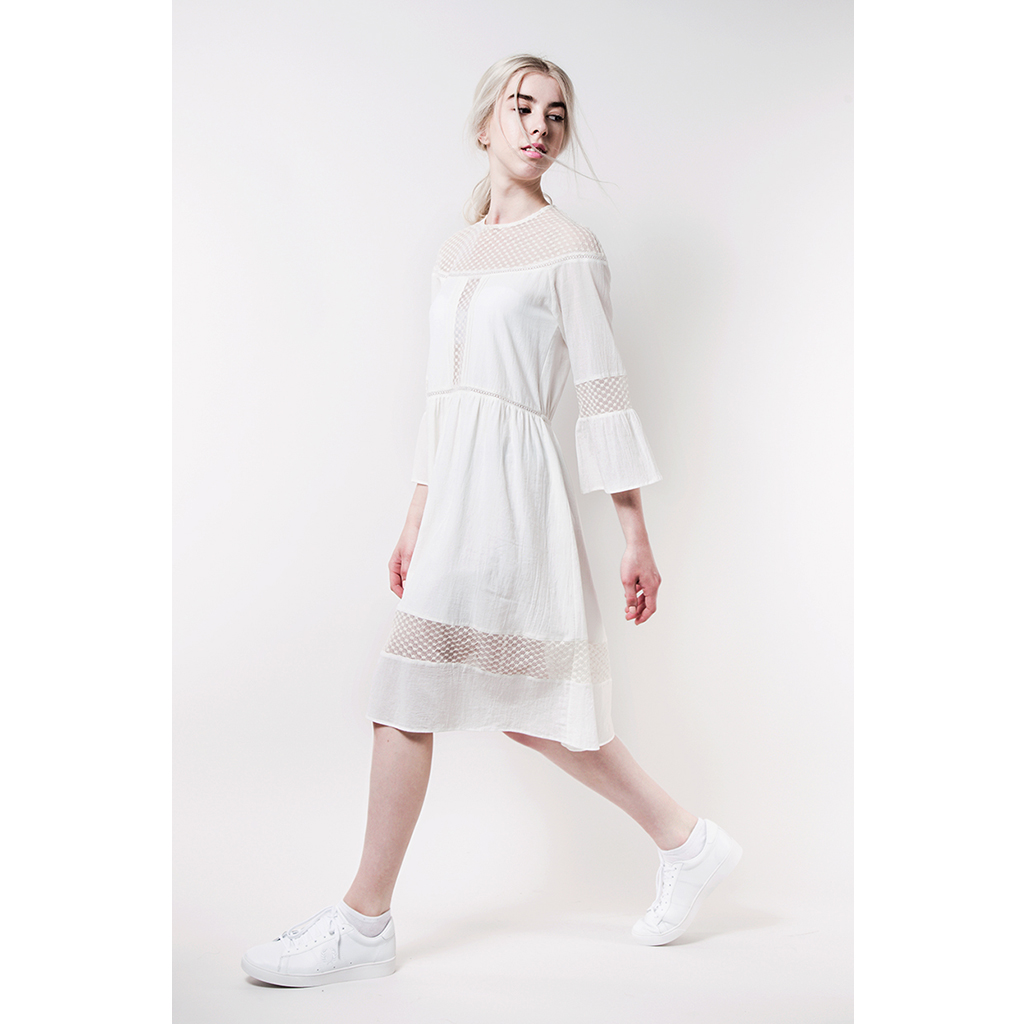 EMILY Cotton & Linen Lace Dress by  on curated-crowd.com