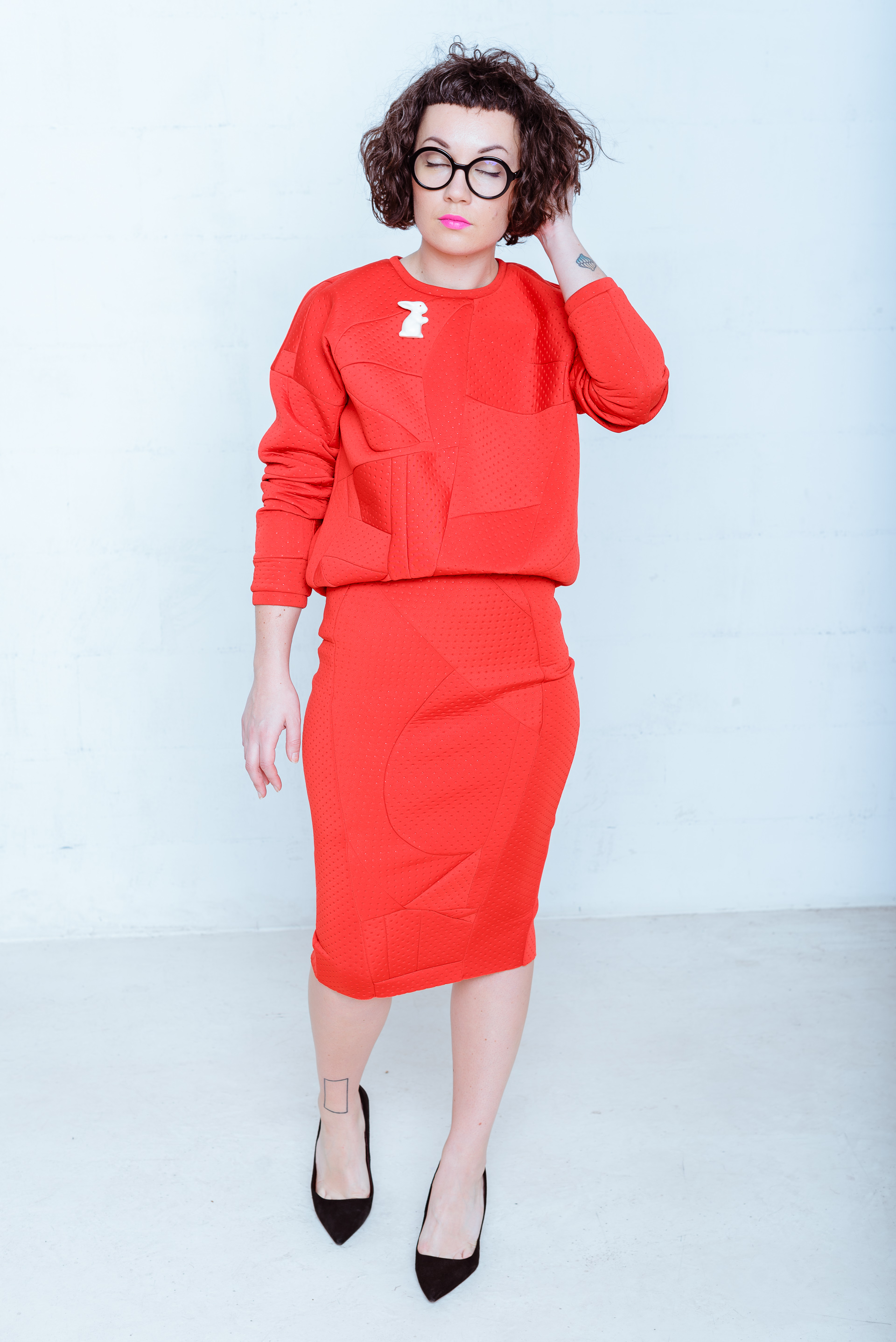 One.Red Skirt Suit by Zefyras on curated-crowd.com