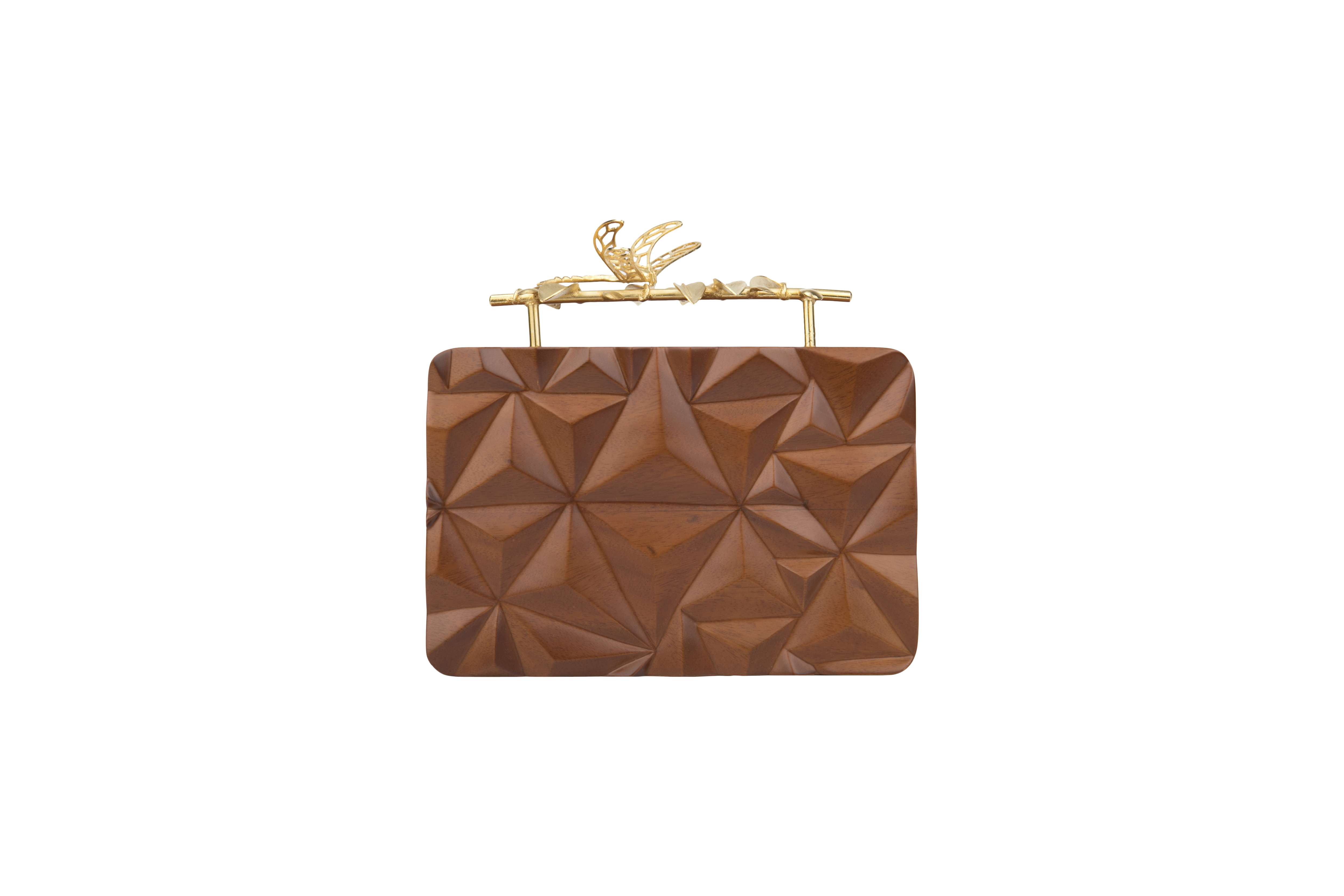 Triangle Wooden Firefly Clutch by Duet Luxury on curated-crowd.com