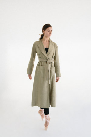 Pistachio Travel Coat by Mariam Alsibai on curated-crowd.com