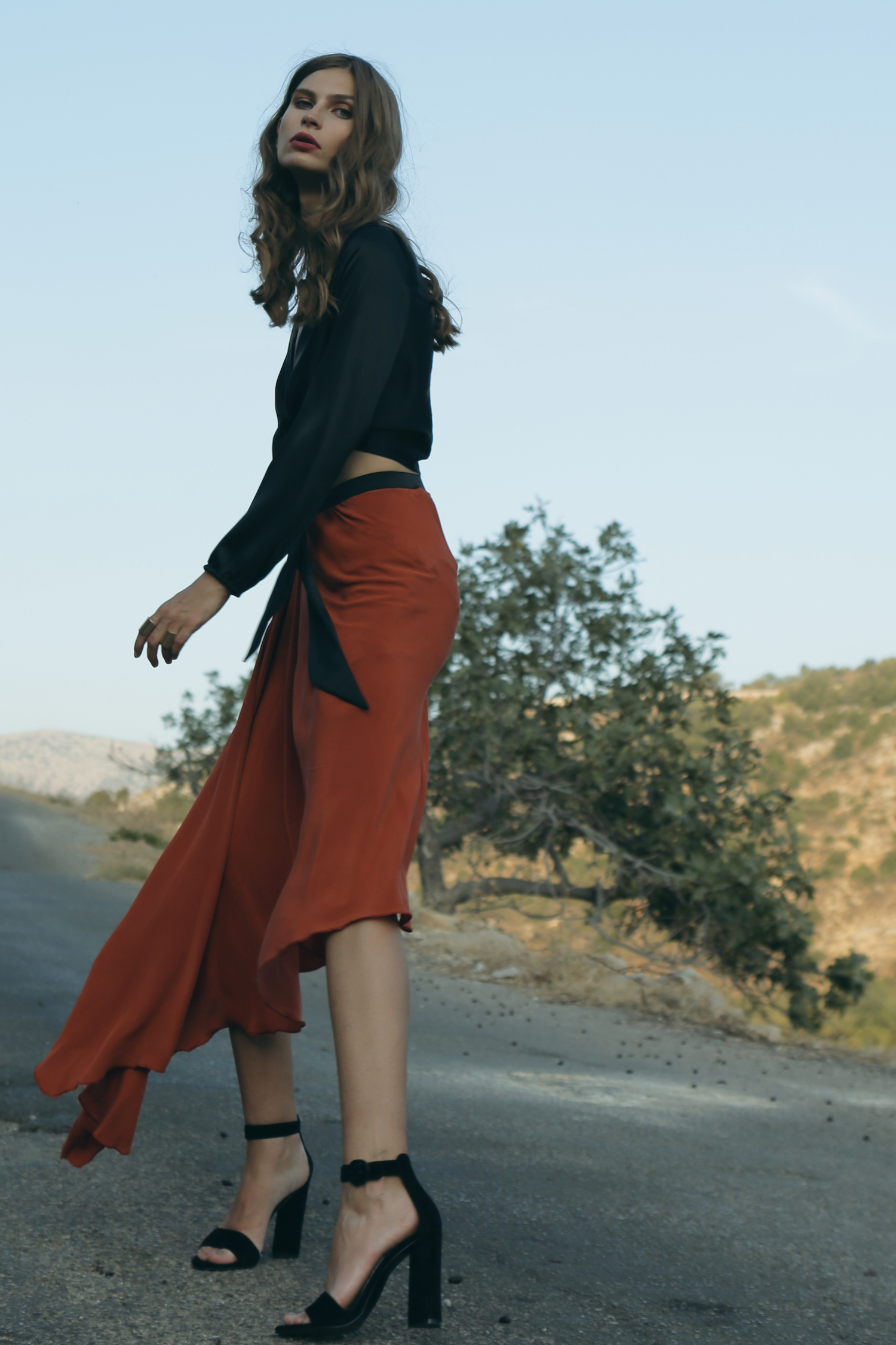 Silk Asymmetric Skirt by Kimi Kimonos on curated-crowd.com