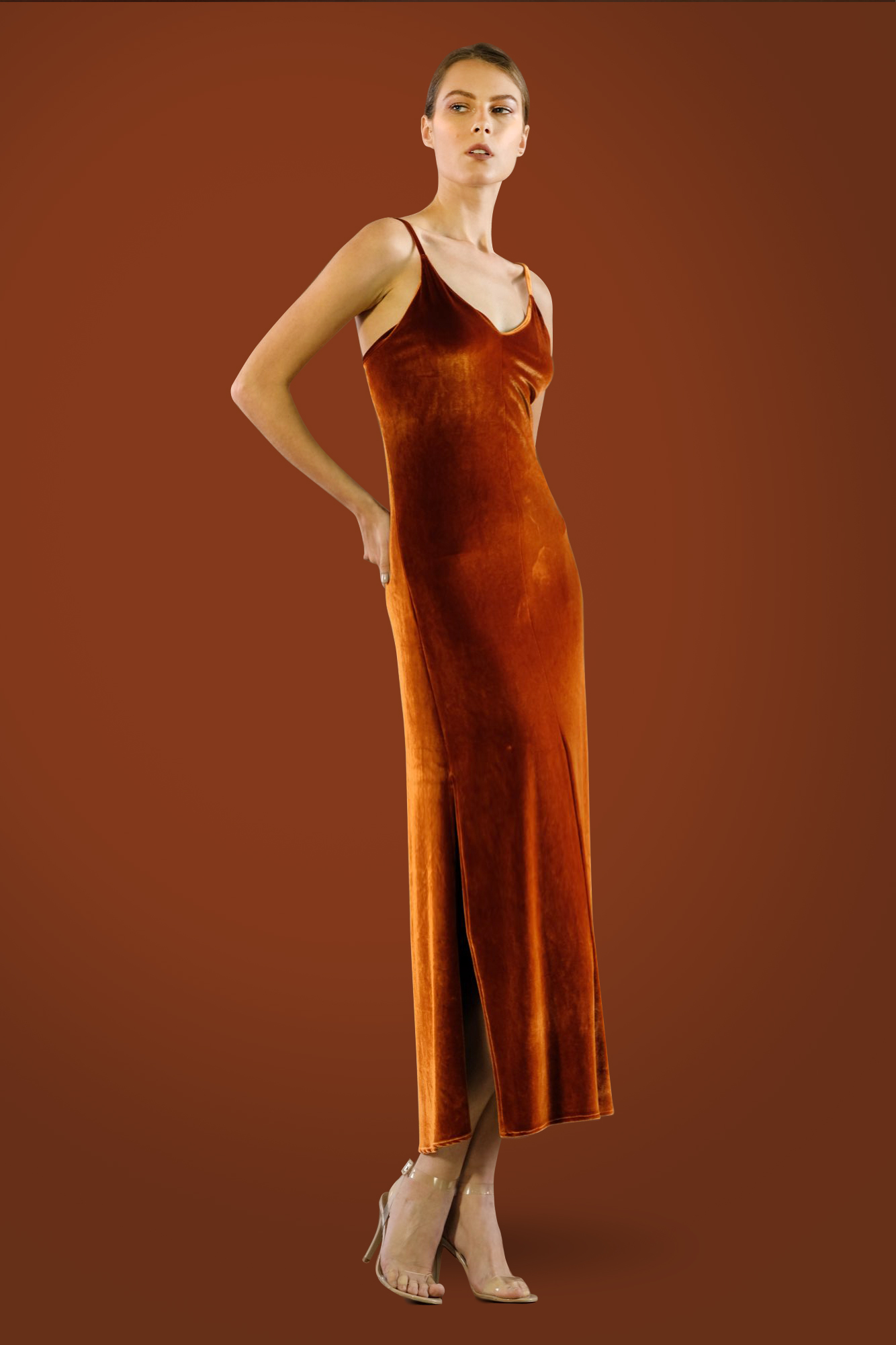 Velvet Slip Dress by Kimi Kimonos on curated-crowd.com