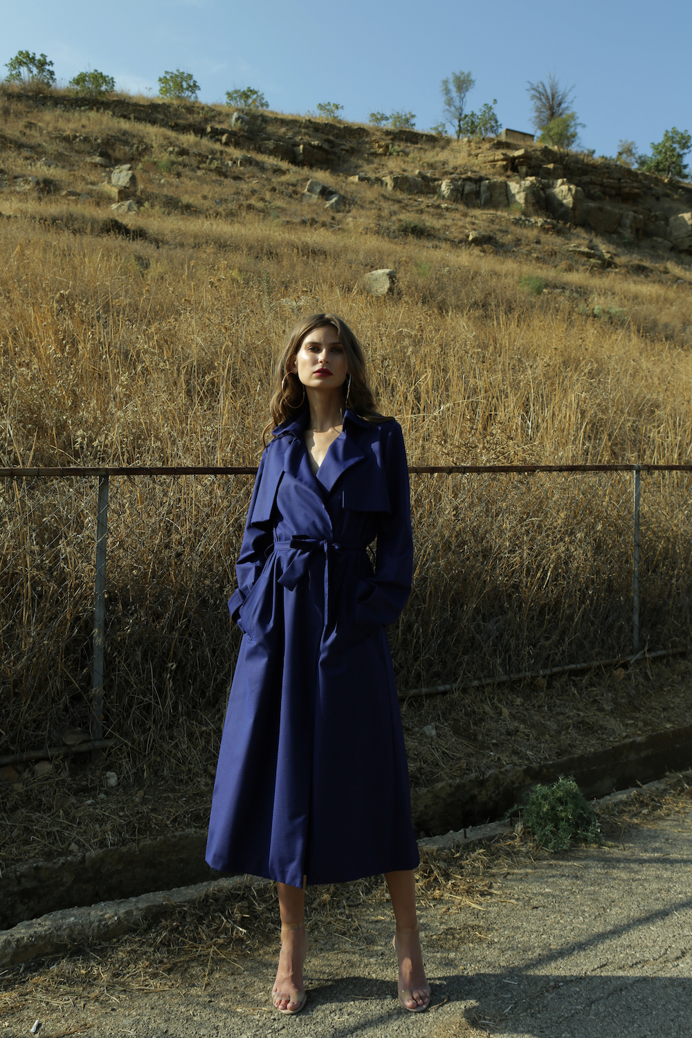 Wool Cotton Trench Coat by  on curated-crowd.com