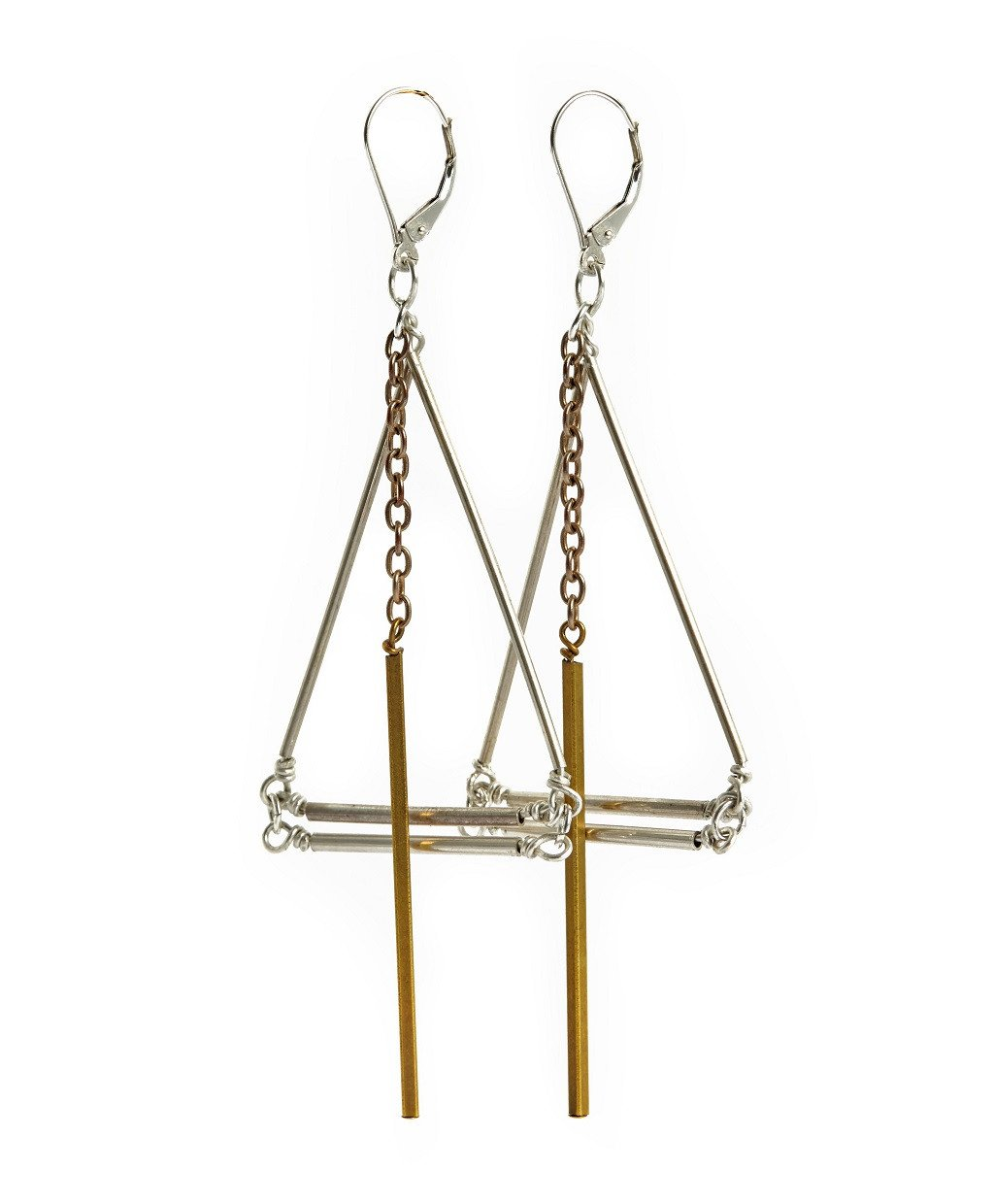 Playground, Silver and Gold Earrings by Sally Lane Jewellery on curated-crowd.com