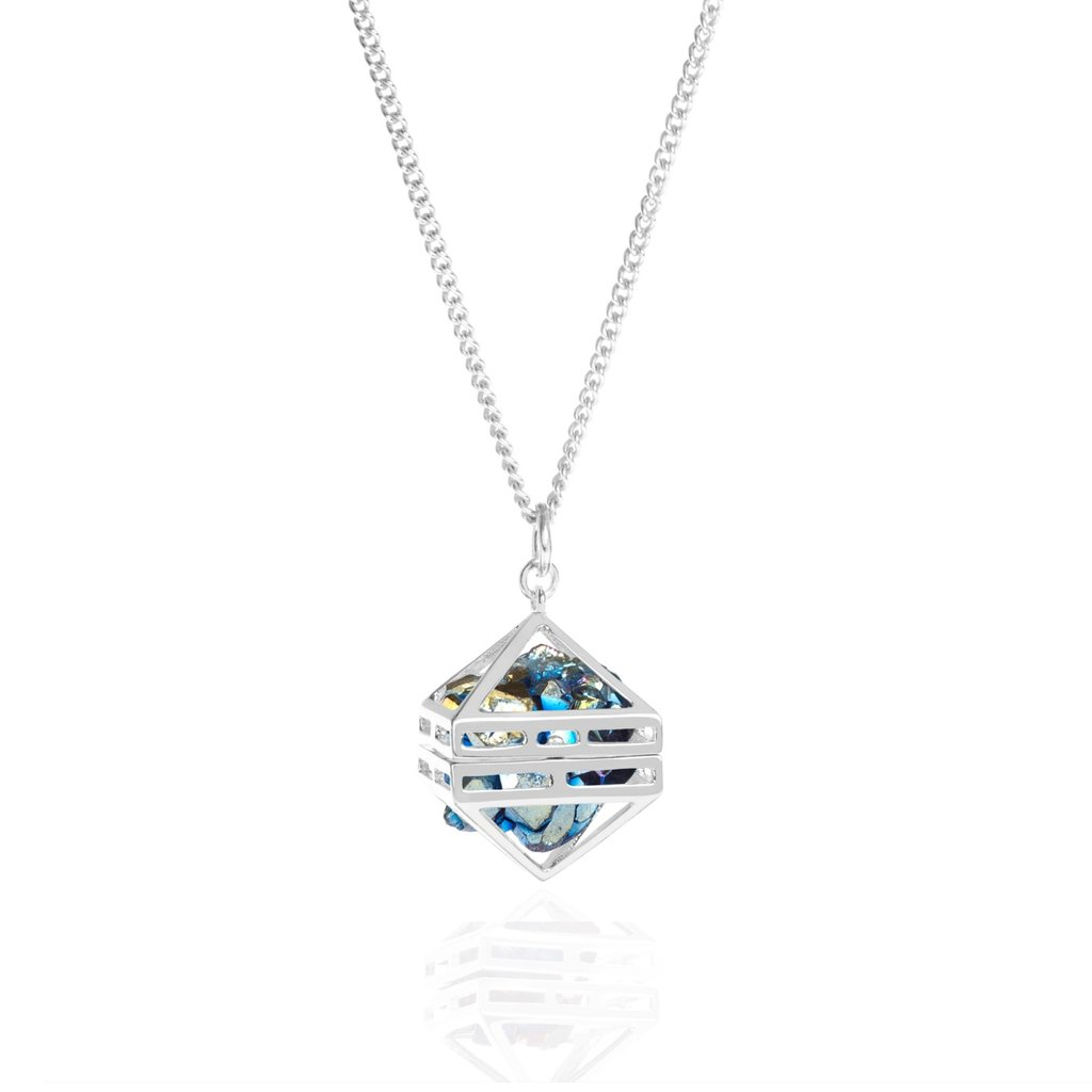 Blue Beauty Within Pendant, Silver 80cm by Sally Lane Jewellery on curated-crowd.com